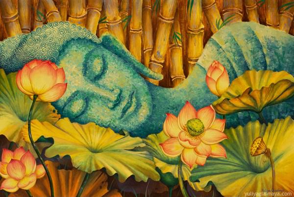 buddha-bodhi-meditation-yoga-om-buddhism-contemporary-art-yuliya-glavnaya-bodhisattva-reclining-bamboo-lotus-padma
